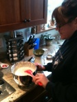 Megleskiver — Sister Meghann whips up a batch of batter for a New Year's morning feast.